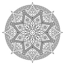 Coloring Page With Black And White Mandala With Floral Pattern. Vector Design.