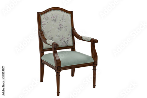 Photo brown wooden chair with armrests with padded seat and backrest on a white backgr