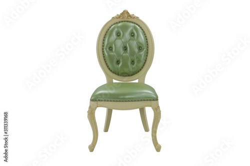 Photo beige wooden chair with a soft green seat and backrest on a white background