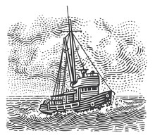 Vintage Fishing Boat Engraving...