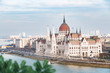 The Parliament of Hungary in Budapest, Danube river.