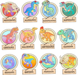 cartoon cute prehistoric dinosaurs, set of images, funny illustrations