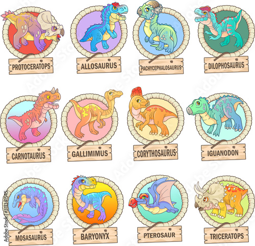 Photo  cartoon cute prehistoric dinosaurs, set of images, funny illustrations