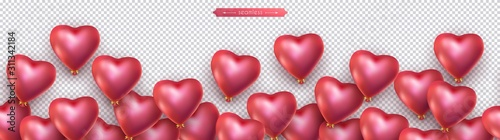 Valentines day, birthday, anniversary seamless border, flying helium red balloons in the shape of heart. Horizontal seamless isolated vector pattern, transparent background