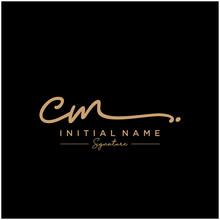 Letter CM Signature Logo Templ...