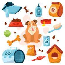 Pet Shop Set With Different Goods For Dogs. Food And Toy