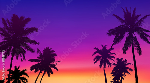 Obraz Black palm trees silhouettes at colorful sunset background, vector tropic banner illustration background - fototapety do salonu