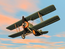 Old Retro Biplane Flying In Th...