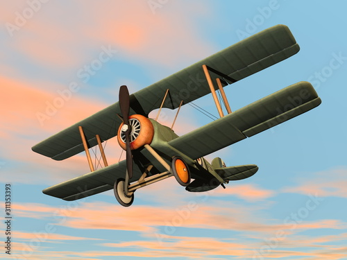 Photo Old retro biplane flying in the sky - 3D render