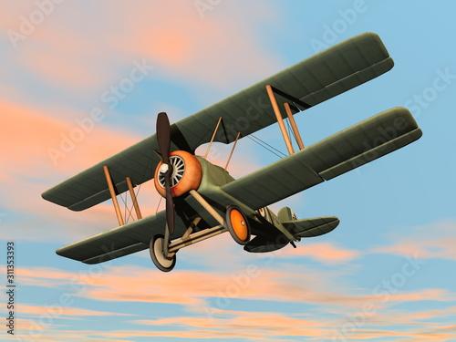 Old retro biplane flying in the sky - 3D render Wallpaper Mural