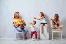 Four Children With Fresh Veget...