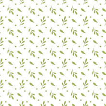 Seamless Pattern Of Watercolor Leaves On A White Background. Use For Invitations, Birthdays, Menus