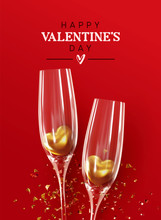 Happy Valentine's Day. Romantic Composition Design, Realistic Two Glasses Of Champagne Wine With Golden Hearts In Them, Glitter Gold Confetti. Red Background. Holiday Gift Card, Festive Banner, Poster