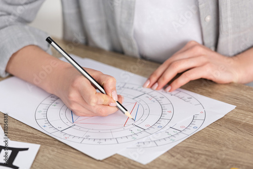 Cropped view of astrologer drawing natal chart on wooden table Wallpaper Mural