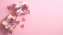 Happy Valentine's Day Banner Template With Two Gift Boxes And Valentines Hearts On Pink Background With Copy Space. Flat Lay Style, Top View.