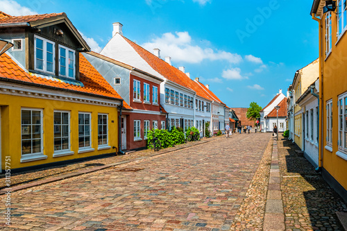 Colored traditional houses in old town of Odense, Denmark Wallpaper Mural