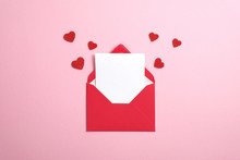 Red Paper Envelope With Blank ...