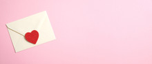 Happy Valentine's Day Concept. Wide Banner With Romantic Love Letter And Red Heart On Pink Background. Flat Lay, Top View, Copy Space.