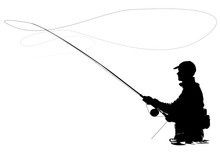 Fly Fisherman Fishing.clip Art...