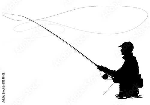 Photo Fly fisherman fishing