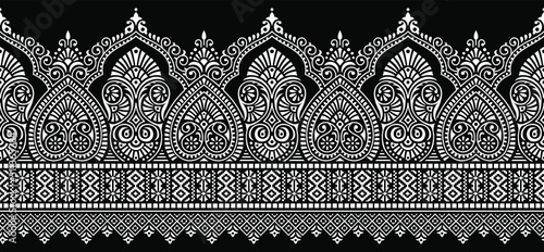 Seamless traditional Asian black and white paisley border