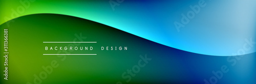 Flowing waves with 3d shadow effects and fluid gradients. Dynamic trendy abstract background. Vector Illustration
