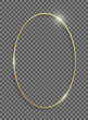 Golden ellipse frame with shadows and highlights isolated on a transparent background.
