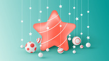Big Red Star On Christmas Deco...