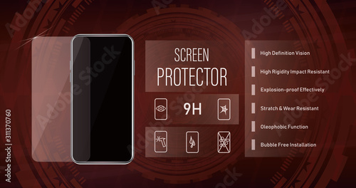 Realistic screen protector banner Wallpaper Mural