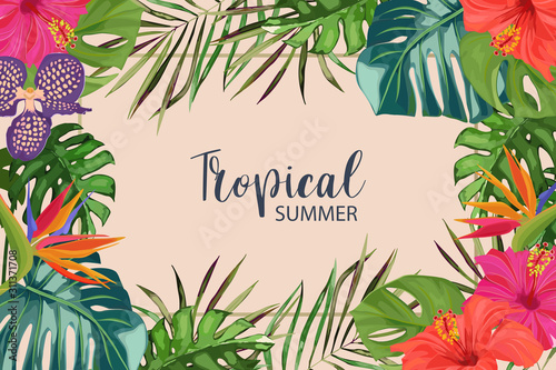 Exotic tropical palm leaves, strelitzia, orchid and hibiscus. Frame border background. Summer vector illustration. Template for card