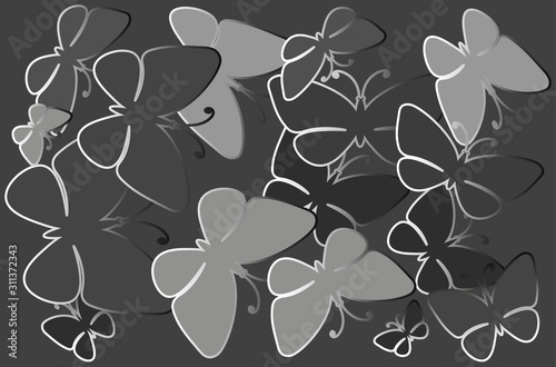Obraz na plátně Silhouettes of butterflies in black and white, shades of gray
