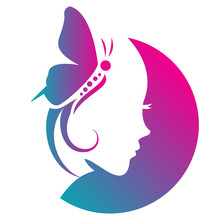 Beauty Salon Logo With Girl Fa...