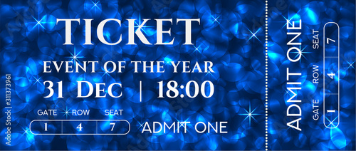 Ticket template design with sparkle twinkle blue background pattern Wallpaper Mural