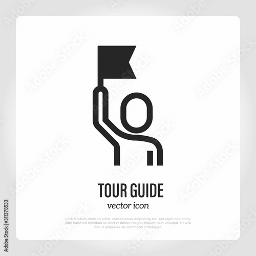 Tour guide thin line icon Fototapet