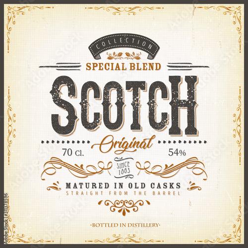 Photo Vintage Scotch Whisky Label For Bottle/ Illustration of a vintage design elegant