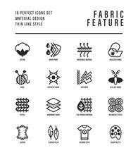 Fabric Feature Thin Line Icons Set. Symbols Of Wool, Synthetic, Silk, Antistatic, Waterproof, Leather, Feather Filler, Eco-friendly, Breatheable Material. Vector Illustration.