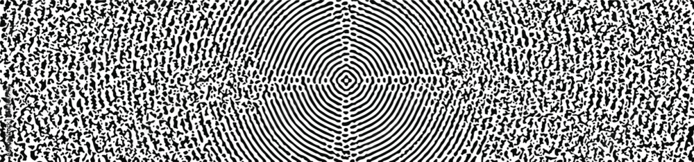 Distressed background texture with concentric circles, spots, scratches and lines, abstract vector illustration in black and white