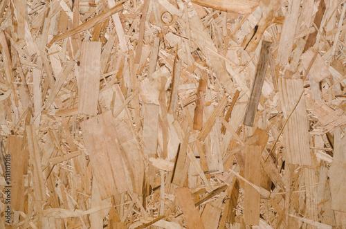 Valokuvatapetti Oriented strand board texture. Natural wooden background