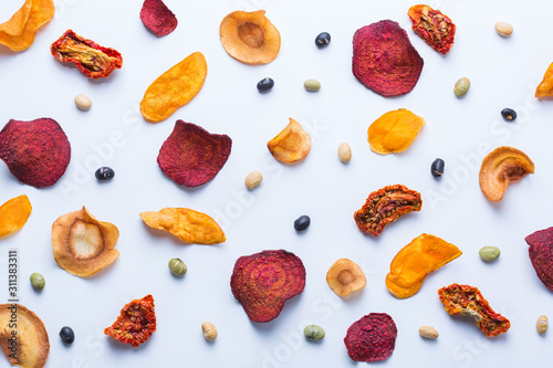 Dried vegetables, dehydrated sweet potato, parsnip, beetroot chips Wallpaper Mural