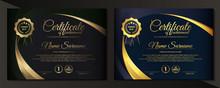 Premium Golden Black Certificate Template Design.