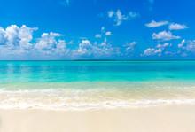 Maldives Beach Amazing Nature Scenery Turquoise Color Sea And Bright Blue Color Sky Funadhoo Beautiful Island In Maldive