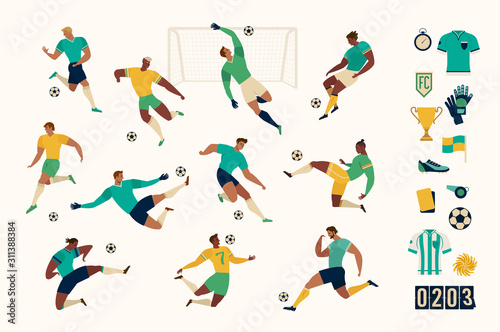 Photo Football soccer player set of isolated characters and modern set of soccer and football icons