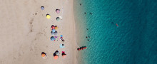 Aerial Drone Ultra Wide Panoramic Photo Of Tropical Exotic Seascape In Mediterranean Greek Ionian Island Of Lefkada With Turquoise Sea