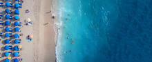 Aerial Drone Photo Of Tropical Exotic Destination Island In Thailand With Deep Blue Turquoise Sea And Beautiful Landscape