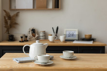 Cute White Teapot And White Cu...