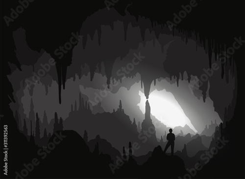 Cave. Inside a backlit cavity Canvas Print