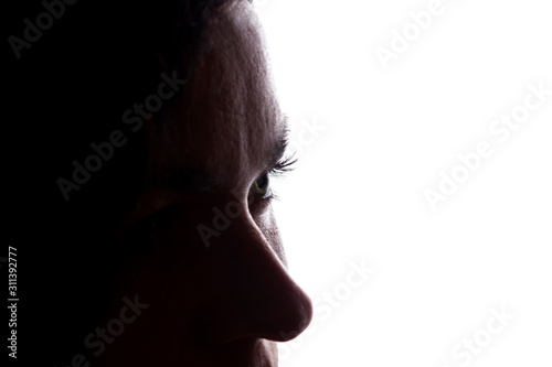 Young woman look ahead, abstraction, concept - silhouette