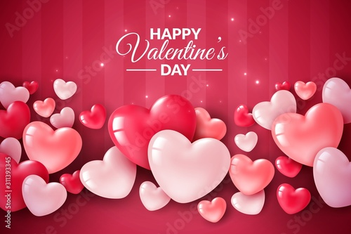 Valentines day 3d hearts. Cute love banner, romantic greeting card happy valentines day wishes text, red heart balloons vector concept