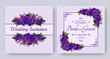 Wedding invitation with flowers of realistic purple viola on patterned background. Floral vector square card set for bridal shower, save the date and marriage celebration. Spring template