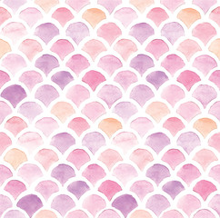 stock illustration seamless pattern. watercolor drawing chevron squama fish, seashells. pink color on a white background. colorful fish sacle. Cute design for wallpaper, textile, fabric.